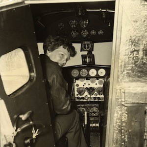 Earhart in the Electra cockpit, c. 1936